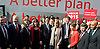 Ed Miliband <br /> Launches Labour's election campaign 2015 at The Orbit, Olympic Park, Stratford, London, Great Britain <br /> 27th March 2015 <br /> <br /> Ed Miliband &amp; The Shadow Cabinet <br /> infront of the Battle Bus <br /> <br /> <br /> <br /> Photograph by Elliott Franks <br /> Image licensed to Elliott Franks Photography Services