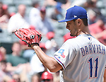 Yu Darvish (Rangers),<br /> APRIL 13, 2017 - MLB :<br /> Texas Rangers starting pitcher Yu Darvish during the Major League Baseball game against the Los Angeles Angels of Anaheim at Angel Stadium of Anaheim in Anaheim, California, United States. (Photo by AFLO)