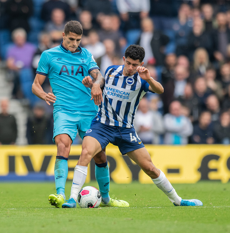 Brighton & Hove Albion's Steven Alzate (left) is tackled by Tottenham Hotspur's Erik Lamela (left) <br /> <br /> Photographer David Horton/CameraSport<br /> <br /> The Premier League - Brighton and Hove Albion v Tottenham Hotspur - Saturday 5th October 2019 - The Amex Stadium - Brighton<br /> <br /> World Copyright © 2019 CameraSport. All rights reserved. 43 Linden Ave. Countesthorpe. Leicester. England. LE8 5PG - Tel: +44 (0) 116 277 4147 - admin@camerasport.com - www.camerasport.com