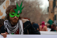 """Manifestazione nazionale contro la legge Fini-Giovanardi sulle droghe, a Roma, 8 febbraio 2014.<br /> Demonstrators attend a march agains the """"Giovanardi-Fini"""" law on drugs, in Rome, 8 February 2014.<br /> UPDATE IMAGES PRESS/Isabella Bonotto"""