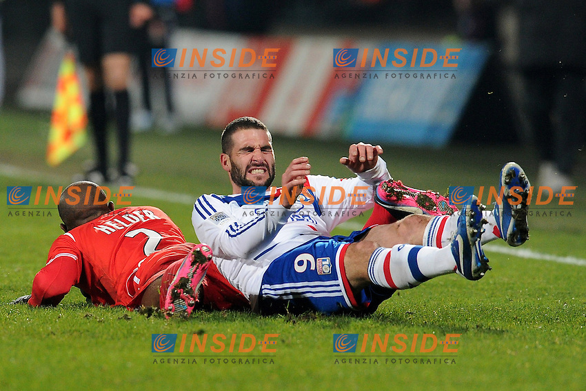 Lisandro Lopez (lyon) et Helder (nancy)  .Football Calcio 2012/2013.Ligue 1 Francia.Foto Panoramic / Insidefoto .ITALY ONLY