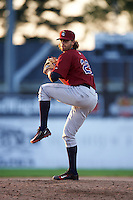 Mahoning Valley Scrappers pitcher Dominic DeMasi (23) delivers a pitch during the second game of a doubleheader against the Batavia Muckdogs on July 2, 2015 at Dwyer Stadium in Batavia, New York.  Mahoning Valley defeated Batavia 3-0.  (Mike Janes/Four Seam Images)
