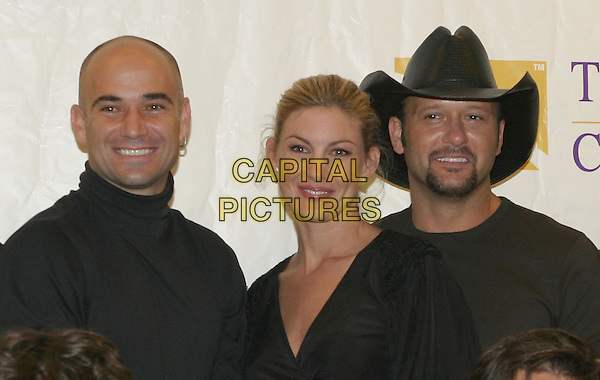 ANDRE AGASSI, FAITH HILL & TIM McGRAW.Press Conference for Agassi Grand Slam for Children 2004.October 2nd, 2004.headshot, portrait, cowboy hat, stetson, beard, goatee.www.capitalpictures.com.sales@capitalpictures.com.© Kevin Ferguson/AdMedia/Capital Pictures.