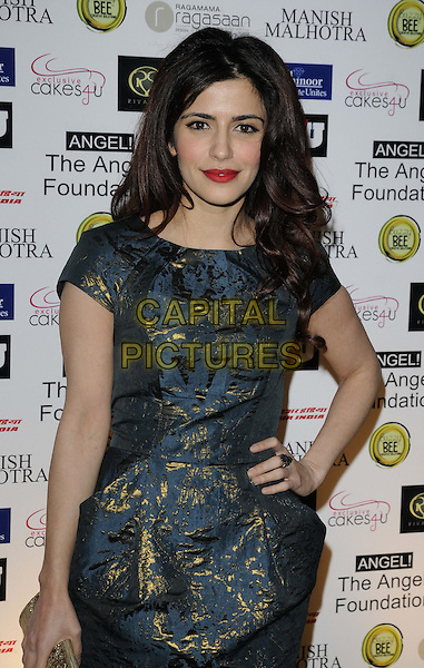 Shivani Ghai.attended the Manish Malhotra Fashion Extravaganza, Grosvenor House Hotel, Park Lane, London, England..February 23rd, 2013.half length dress hand on hip blue gold dress .CAP/CAN.©Can Nguyen/Capital Pictures.