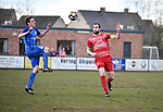2018-03-11 / Voetbal / Seizoen 2017-2018 / Vosselaar VV - Kapellen / Ruben Vaes (l. Vosselaar) met Dirk Mathyssen<br /> <br /> ,Foto: Mpics.be