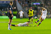 8th February 2020; Murrayfield Sadium, Edinburgh, Scotland; International Six Nations Rugby, Scotland versus England; Owen Farrell (capt) of England scores a penalty to make it 13-3 to England as Allan Dell of Scotland  watches