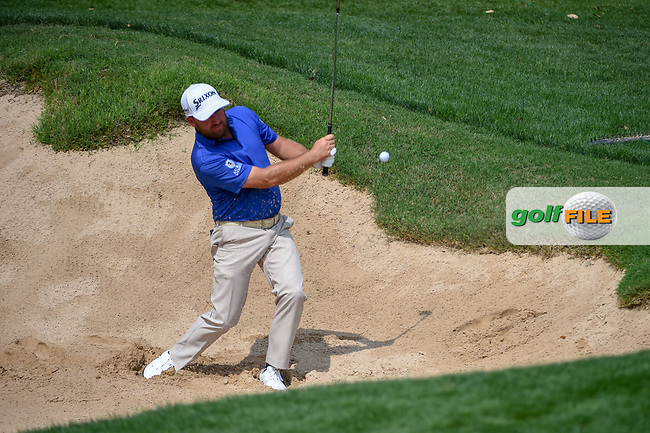 Graeme McDowell (NIR) hits from the trap on 18 during day 3 of the Valero Texas Open, at the TPC San Antonio Oaks Course, San Antonio, Texas, USA. 4/6/2019.<br /> Picture: Golffile | Ken Murray<br /> <br /> <br /> All photo usage must carry mandatory copyright credit (© Golffile | Ken Murray)