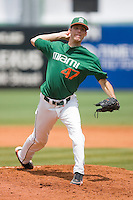 Starting pitcher David Gutierrez #47 of the Miami Hurricanes in action against the Virginia Cavaliers at the 2010 ACC Baseball Tournament at NewBridge Bank Park May 29, 2010, in Greensboro, North Carolina.  The Cavaliers defeated the Hurricanes 12-8.  Photo by Brian Westerholt / Four Seam Images