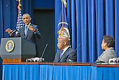 United States President Barack Obama makes remarks at a session hosted by the White House Office of Public Engagement on strengthening and protecting the right to vote at the White House in Washington, DC on Thursday, August 6, 2015. The event was attended by civil rights leaders, faith leaders, voting rights activists and state and local officials.  From left to right: President Obama, US Representative John Lewis (Democrat of Georgia), and US Attorney General Loretta Lynch.<br /> Credit: Ron Sachs / Pool via CNP