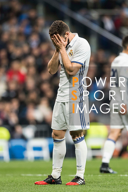 """José Ignacio Fernández Iglesias """"Nacho"""" of Real Madrid reacts during the La Liga match between Real Madrid and RC Deportivo La Coruna at the Santiago Bernabeu Stadium on 10 December 2016 in Madrid, Spain. Photo by Diego Gonzalez Souto / Power Sport Images"""
