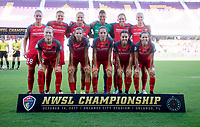 Orlando, FL - Saturday October 14, 2017: Portland Thorns FC Starting XI during the NWSL Championship match between the North Carolina Courage and the Portland Thorns FC at Orlando City Stadium.   The Portland Thorns won the championship, 1-0.