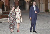 04 August 2017 - Palma, Spain - King Felipe, Queen Letizia and Queen Sofia during an audience with local authorities at the Almudaina's Palace. Photo Credit: PPE/face to face/AdMedia