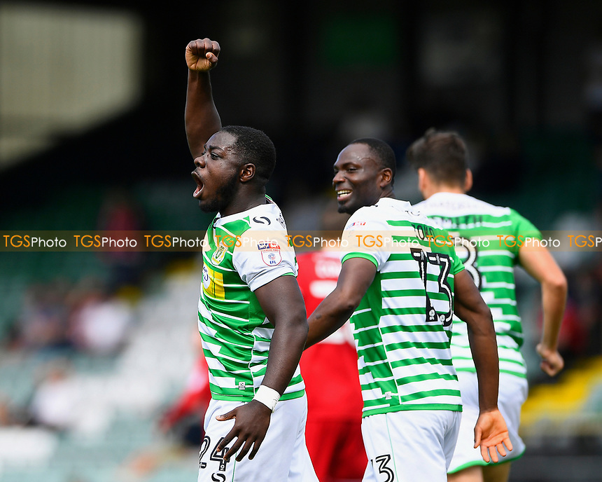 Olufela Olomola of Yeovil Town celebrates his goal during Yeovil Town vs Accrington Stanley, Sky Bet EFL League 2 Football at Huish Park on 12th August 2017