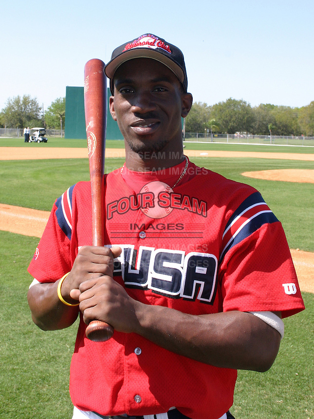 Fort Meade High School senior Andrew McCutchen poses for a photo after a showcase for the Pittsburgh Pirates, who drafted McCutchen in the first round, at Pirate City on March 20, 2005 in Bradenton, Florida.  (Mike Janes/Four Seam Images)