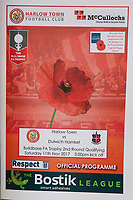 The Harlow Town match day program during Harlow Town vs Dulwich Hamlet, Buildbase FA Trophy Football at The Harlow Arena on 11th November 2017