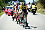 The breakaway group with Timo Roosen (NED) Lotto NL-Jumbo on the front in action during Stage 14 of the 104th edition of the Tour de France 2017, running 181.5km from Blagnac to Rodez, France. 15th July 2017.<br /> Picture: ASO/Alex Broadway | Cyclefile<br /> <br /> <br /> All photos usage must carry mandatory copyright credit (&copy; Cyclefile | ASO/Alex Broadway)