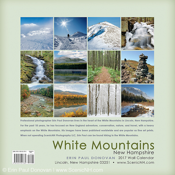 Back cover of the 2017 White Mountains, New Hampshire wall calendar by ScenicNH Photography LLC | Erin Paul Donovan. The calendar can be purchased here: http://bit.ly/220sKru