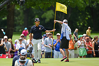 Kevin Na (USA) after sinking his birdie putt on 2 during round 4 of the 2019 Charles Schwab Challenge, Colonial Country Club, Ft. Worth, Texas,  USA. 5/26/2019.<br /> Picture: Golffile | Ken Murray<br /> <br /> All photo usage must carry mandatory copyright credit (© Golffile | Ken Murray)