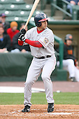 April 30th 2008:  Bryan Pritz (24) of the Pawtucket Red Sox, Class-AAA affiliate of the Boston Red Sox, at bat during a game at Frontier Field  in Rochester, NY.  Photo by Mike Janes/Four Seam Images