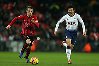 Steven Davis of Southampton and Son Heung-Min of Tottenham Hotspur during Tottenham Hotspur vs Southampton, Premier League Football at Wembley Stadium on 5th December 2018