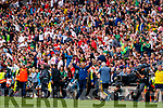 Kerry Manager Peter Keane celebrates at the final whistle of the All Ireland Senior Football Semi Final between Kerry and Tyrone at Croke Park, Dublin on Sunday.