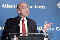 Washington, DC - April 25, 2019: Elliott Abrams, Special Representative for Venezuela at the Department of State, speaks at the Atlantic Council in Washington, D.C., April 25, 2019.  (Photo by Lenin Nolly/Media Images International)
