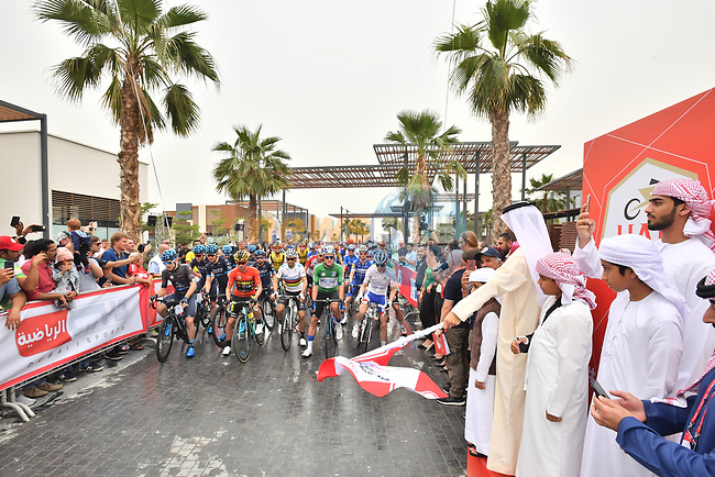 The start of Stage 6 of the 2019 UAE Tour, running 175km form Ajman to Jebel Jais, Dubai, United Arab Emirates. 1st March 2019.<br /> Picture: LaPresse/Massimo Paolone | Cyclefile<br /> <br /> <br /> All photos usage must carry mandatory copyright credit (© Cyclefile | LaPresse/Massimo Paolone)