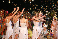 "Deriugina School gymnasts of Ukraine celebrate finish of gala exhibition  after 2007 World Cup Kiev, ""Deriugina Cup"" in Kiev, Ukraine on March 18, 2007."