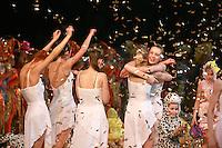 "Deriugina School gymnasts of Ukraine celebrate finish of gala exhibition  after 2007 World Cup Kiev, ""Deriugina Cup"" in Kiev, Ukraine on March 18, 2007."