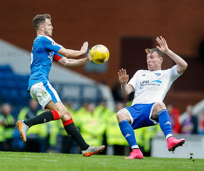 Andy Halliday and Rory McAllister about to crunch heavily together as they chase a 50:50 ball