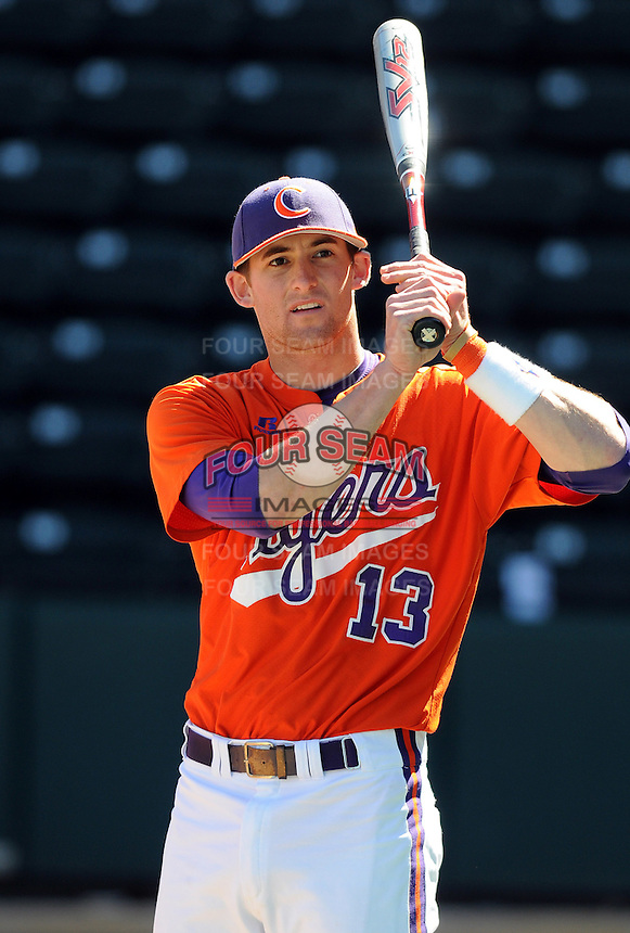 Clemson infielder Brad Miller (13) prior to a game between the Clemson Tigers and South Carolina Gamecocks Saturday, March 6, 2010, at Fluor Field at the West End in Greenville, S.C. Photo by: Tom Priddy/Four Seam Images