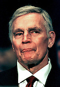 """Academy Award winning actor and political activist Charlton Heston (October 4, 1923 - April 5, 2008), representing the National Rifle Association (NRA), appears before the United States Senate Judiciary Subcommittee on the Constitution hearing concerning the 2nd Amendment - the right to bear arms on 23 September 23, 1998.  Heston was known for his roles in epic movies such as """"The Ten Commandments"""" and """"Ben-Hur"""" and later for his support of conservative political causes and was president of the NRA from 1998 to 2003..Credit: Arnie Sachs / CNP"""