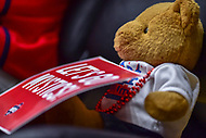 Washington, DC - August 31, 2018: A Washington Mystics fan's teddy bear cheers on the Mystics during semi finals playoff game between Atlanta Dream and Wasington Mystics at the Charles Smith Center at George Washington University in Washington, DC. (Photo by Phil Peters/Media Images International)