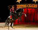 """© Under licence to London News Pictures. 31/03/2011. Zippo's Circus opens in Finsbury Park, London, with a brand new show """"Horsepower"""", featuring horses of both the corporeal and mechanical kinds. Yasmine Smart, grand-daughter of Billy Smart, returns to the UK to perfrom for the first time in 25 years, with a new act, on her new horse, Andalusian Stallion, 'Diamond'. Picture credit should read: Jane Hobson/London News Pictures"""