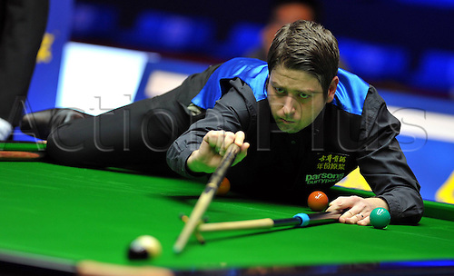 03.03.2013 Haikou, China. Matthew Stevens of Wales in action against Mark Allen of Northern Ireland during the final of the Haikou World Open.