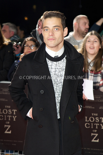 www.acepixs.com<br /> <br /> February 16 2017, London<br /> <br /> Rami Malek arriving at the UK premiere of 'The Lost City of Z' at The British Museum on February 16, 2017 in London<br /> <br /> By Line: Famous/ACE Pictures<br /> <br /> <br /> ACE Pictures Inc<br /> Tel: 6467670430<br /> Email: info@acepixs.com<br /> www.acepixs.com
