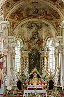 Italy, South Tyrol (Trentino - Alto Adige), Neustift (Novacella) near Bessanone in Valle Isarco: Augustinian monastery (Abbazia di Novacella) - collediate church, altar | Italien, Suedtirol (Trentino - Alto Adige), Neustift (Vahrn) bei Brixen im Eisacktal: Kloster Neustift - Augustiner Chorherrenstift - Stiftskirche, Altar