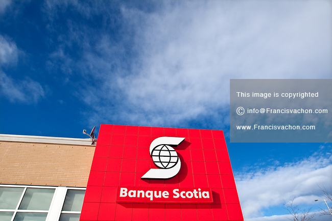 Banque Scotia logo is pictured on a Quebec city bank in Quebec January 4, 2010. The Bank of Nova Scotia (in French, Banque de Nouvelle-Ecosse, and commonly Scotiabank in English and Banque Scotia in French) is the third largest bank in Canada by deposits and market capitalization.