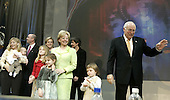 United States Vice President Dick Cheney waves as he joins his family onstage during a victory celebration at the Ronald Reagan Building, November 3, 2004 in Washington DC. After deciding not to contest the votes in the battleground state of Ohio, Democratic presidential candidate Sen. John Kerry (Democrat of Massachusetts) called President Bush to concede and congratulated him.   <br /> Credit: Mark Wilson / Pool via CNP
