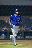 AZL Cubs right fielder Jonathan Sierra (22) jogs to first base after an at bat against the AZL Giants on September 5, 2017 at Scottsdale Stadium in Scottsdale, Arizona. AZL Cubs defeated the AZL Giants 10-4 to take a 1-0 lead in the Arizona League Championship Series. (Zachary Lucy/Four Seam Images)