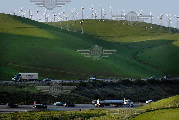 Interstate 580 passes the Altamont Pass wind farm in Central California. With 4,900 turbines, this is the largest concentration of wind turbines in the world, with a capacity of 576 megawatts (MW), producing about 125 MW on average and 1.1 terawatt-hours (TWh) annually.