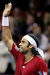 Chile's Fernando Gonzalez celebrates after passing to the final during his Madrid Masters Series tennis tournament semi final match against Czech Republic's Thomas Berdych at Madrid Arena, Saturday 21 October, 2006. (ALTERPHOTOS/Alvaro Hernandez).