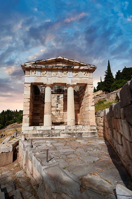 The Treasury of Athens on the processional way of Delphi, Delphi archaeological site, Delphi, Greece