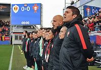 20180406 - LEUVEN , BELGIUM : Portugese coach Francisco Neto (R) and his technical staff   pictured during the national hymn of the female soccer game between the Belgian Red Flames and Portugal , the fourth game in the qualificaton for the World Championship qualification round in group 6 for France 2019, Friday 6 th April 2018 at OHL Stadion Den Dreef in Leuven , Belgium. PHOTO SPORTPIX.BE | DIRK VUYLSTEKE