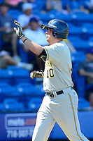 Michigan Wolverines outfielder Michael O'Neill #10 after scoring a run during an exhibition game against the New York Mets at Tradition Field on February 24, 2013 in St. Lucie, Florida.  New York defeated Michigan 5-2.  (Mike Janes/Four Seam Images)