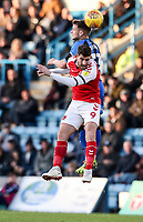 Fleetwood Town's Ched Evans competing with Gillingham's Mark Byrne<br /> <br /> Photographer Andrew Kearns/CameraSport<br /> <br /> The EFL Sky Bet League One - Gillingham v Fleetwood Town - Saturday 3rd November 2018 - Priestfield Stadium - Gillingham<br /> <br /> World Copyright &copy; 2018 CameraSport. All rights reserved. 43 Linden Ave. Countesthorpe. Leicester. England. LE8 5PG - Tel: +44 (0) 116 277 4147 - admin@camerasport.com - www.camerasport.com