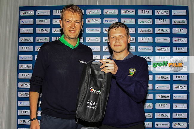 Rory Colville (European Tour) present a prize to Kieran Lagan from Kilrae Golf Club for Gents Longest Drive at the Dubai Duty Free Irish Open Pro-Am Qualifying Competition FINAL at The K Club, Straffan,  Co Kildare. 9/05/2016.<br /> The European Tour and Dubai Duty Free gave golf clubs around the island of Ireland the chance to play with international golf superstars and world famous celebrities in the Dubai Duty Free Irish Open Pro-Am hosted by the Rory Foundation and first qualifier was at Rockmount Golf Course on April 11. There will be a further four regional qualifiers between now and late April and the winners of each regional qualifier will then go forward to compete in the All-Ireland Final, to be held on the Smurfit Course at The K Club in early May.<br /> <br /> The winner of the final round will receive a team invitation for the Dubai Duty Free Irish Open Pro-Am. This initiative is part of Europe&rsquo;s Race to Dubai Champion Rory McIlroy&rsquo;s five-point plan to drum up support for the Dubai Duty Free Irish Open from Ireland&rsquo;s 420 golf clubs, as well as helping to further develop the game of golf in Ireland. For more information on the 2016 Dubai Duty Free Irish Open hosted by the Rory Foundation or to purchase tickets www.dubaidutyfreeirishopen.com.<br /> Picture: Golffile | Thos Caffrey<br /> <br /> <br /> All photo usage must carry mandatory copyright credit (&copy; Golffile | Thos Caffrey)