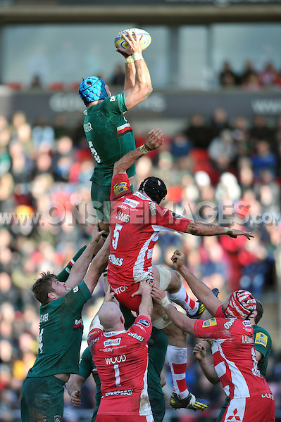 Graham Kitchener rises high to win lineout ball. Aviva Premiership match, between Leicester Tigers and Gloucester Rugby on February 16, 2014 at Welford Road in Leicester, England. Photo by: Patrick Khachfe / JMP