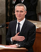 Jens Stoltenberg, Secretary General of the North Atlantic Treaty Organization (NATO) thanks the audience for the applause prior to addressing a joint session of the United States Congress in the US Capitol in Washington, DC on Wednesday, April 3, 2019.<br /> Credit: Ron Sachs / CNP