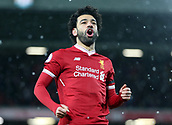 17th March 2018, Anfield, Liverpool, England; EPL Premier League football, Liverpool versus Watford; Mohammed Salah of Liverpool celebrates  his 77th minute hat trick goal in front of the Kop